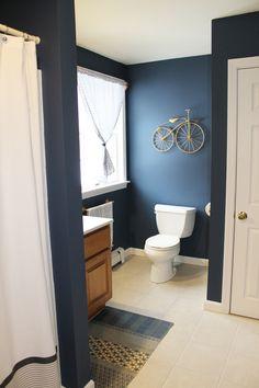 boys bathroom , benjamin Moore Newburyport Blue, West Elm rug and shower curtain , Lauren Lowe Design