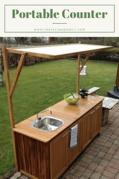 Outdoor Kitchen Ideas on a Budget (Affordable, Small, and DIY Kitchen) Simple Outdoor Kitchen, Rustic Outdoor Kitchens, Outdoor Sinks, Outdoor Kitchen Cabinets, Backyard Kitchen, Outdoor Kitchen Design, Diy Kitchen, Kitchen Ideas, Kitchen Interior