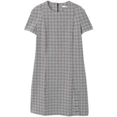 MANGO Buttoned check dress (205 PLN) ❤ liked on Polyvore featuring dresses, grey, zip back dress, button dress, embellished dress, short-sleeve dresses and back zipper dress