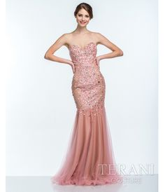Coral Pearl Embellished Sweetheart #Prom Gown #uniqueprom