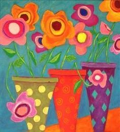 Folk Art Fiesta Flowers ~ John Blake Folk Artist
