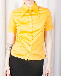 Sunflower Short Sleeved Shirt With Oversized Collar
