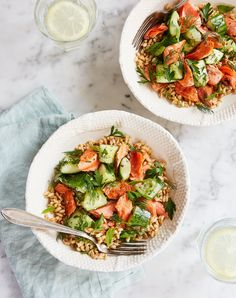 Alaska Salmon and Smashed Cucumber Grain Bowls 25 Easy Mediterranean Diet Recipes to Whip Up for Lunch - Easy Mediterranean Diet Recipes to Whip Up for Lunch - PureWow Best Fish Recipes, Lunch Recipes, Dinner Recipes, Copycat Recipes, Sauce Recipes, Summer Recipes, Seafood Recipes, Healthy Recipes, Cucumber Recipes