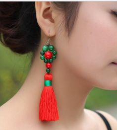 Cheap tassel bead, Buy Quality tassel handbag directly from China tassel scarf Suppliers: 	Free shipping,Emerald red tassel earrings Emerald exotic ethnic style personality red tassel earrings