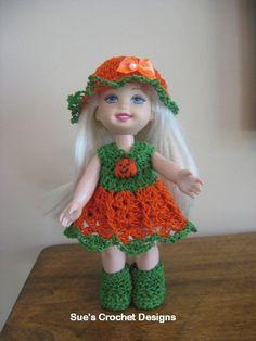 """Crochet 6"""" Kelly Doll Halloween Pumpkin Dress Set - Just gorgeous - 10 thread"""