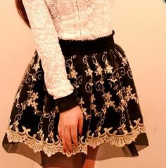 Color:black, Size:free size, Elastic wait, Skirt length:45 cm, Fabric material:lace, Content:71%-80%, more style,please visit: http://fashionkawaii.storenvy.com/