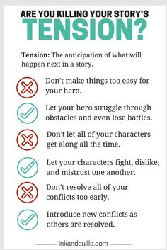 How to create tension in a story. I've been having trouble doing this in mine, so this is really helpful