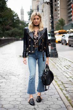Fall Fashion. Choker. Reformation Top. Balmain Leather Jacket. Mother Denim Jeans. Gucci Furry Slippers.  Alexander Wang Bag
