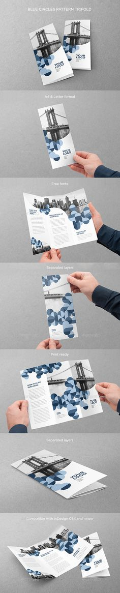 Blue Circles Pattern Trifold Brochure Template 	InDesign INDD. Download here: http://graphicriver.net/item/blue-circles-pattern-trifold/16601906?ref=ksioks