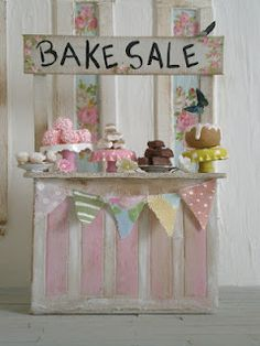 Bake Sale - great way to display a few bake goods in a shadow box