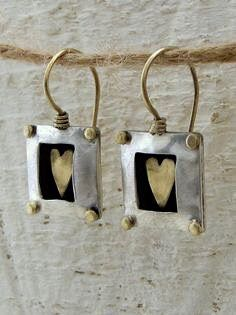 Square Silver Earrings with Gold Heart by Omiya on Etsy Heart Jewelry, Heart Earrings, Resin Jewelry, Jewelry Art, Silver Earrings, Silver Jewelry, Jewelry Accessories, Jewelry Design, Jewellery