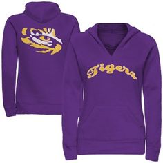 LSU Tigers Ladies Oversize Script Logo Pullover V-Neck Hoodie Sweatshirt - Purple