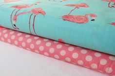 Flamingos Fabric on Aqua  Ta Dot in Petal  by StashModernFabric, $18.00