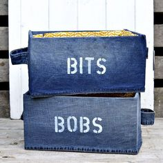 Looking for a fun way to organize your clutter? Try these Upcycled Denim Storage Boxes (IKEA Pingla Hack) for an IKEA hack that will make you smile. These DIY storage boxes are a cute and easy way to put away random things around the house. Cardboard Recycling, Cardboard Boxes, Cardboard Storage, Folding Jeans, Patriotic Bunting, Diy Storage Boxes, Storage Ideas, Storage Crates, Baby Storage