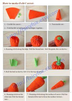 Free felt tutorial-How to make felt carrot   fairyfox