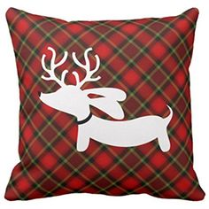 Emvency Throw Pillow Cover Plaid Reindeer Dachshund Decorative Pillow Case Holiday Home Decor Square 18 x 18 Inch Cushion Pillowcase * Click image for more details. (This is an affiliate link) #PillowCovers