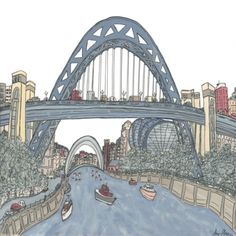The picture of the Bridges that I enjoyed doing most. Painted from a similar viewpoint to an earlier picture the colours are softer and there is more detail of things going on around the Bridges in this picture.  Material used Gouache & Pen     Giclee print on Epson Archival Matte 310gsm. Double mounted on Daler white core Snow White mount board     Print size: 34 x 34cm  Mounted size: 51 x 51cm  Stretched canvas: 41 x 41cm  Mounted Print £70