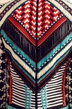 Beaded jacket in geometric graphic pattern, detail. Backstage at Balmain Spring / Summer 2015, Menswear. Photo: Marie-Amélie Tondu http://www.dazeddigital.com/fashion/gallery/18084/17/balmain-ss15