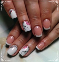 Exquisite decorative manicure is suitable for all occasions. Milk white base and the french strips ensures perfect combination with all the dresses; drawin