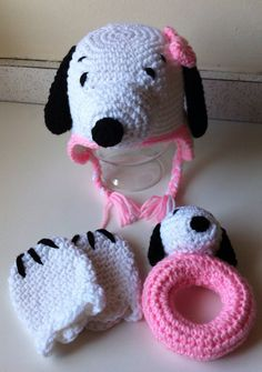 Snoopy inspired baby hat mittens  rattle set by scotako on Etsy, $39.00