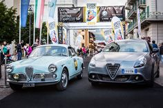 Old style, new awards. A classic Giulietta Sprint (1960) has reached the podium at Dolomites Gold cup 2015 in Cortina at the side of the new Alfa Romeo Giulietta.