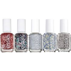 Essie Encrusted Treasures Glitter 5-piece Nail Polish Set ($15) ❤ liked on Polyvore featuring beauty products, nail care, nail polish, multi, essie nail color, essie nail polish and essie