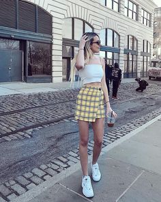 What the Athleisure trend is and how you can rock it Plaid Outfits, Skirt Outfits, Casual Outfits, Cute Outfits, New York Outfits, Athleisure Trend, Fila Outfit, Skirt Fashion, Fashion Outfits