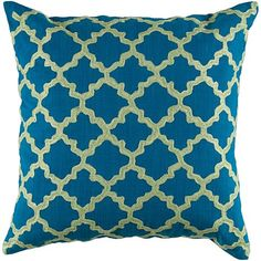 """18"""" x 18"""" Embroidered Pattern Pillow - Blue/Lime"""