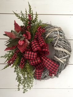 Farmhouse Christmas wreath grapevine by MercantileAtMulberry