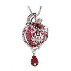 Rosie Red Flower Glass Ash Pendant Urn