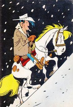 Lucky Luke & Jolly Jumper (by Morris) Classic Comics, Classic Cartoons, Bd Lucky Luke, Caricatures, Tv Movie, Luke Luke, Jordi Bernet, Cartoon Art, Cartoon Characters