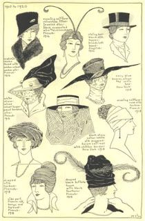 """A lot of styles of hat in 1910-1914 . It was called """" Fashion Belle Epoque II """""""