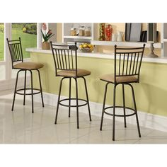 Linon Brown Adjustable Height Metal Swivel Barstools (Set of 3) - Overstock Shopping - Great Deals on Linon Bar Stools