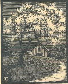 "By Herschel Logan.  ""Apple Blossom""    Block print, 1927    5 x 4"