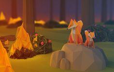 Wallpaper fox, fire, fire, wood, evening
