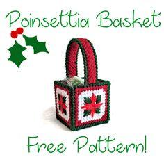 Poinsettia basket, free plastic canvas pattern, 1/3