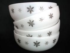 Set of 4 white JAJ pyrex jockey cap serving by TwoTimeVintage, £7.00