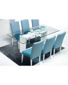 Mesa refeição retangular 2000 c/ tampo de vidro transparente e pé central c/paineis em Branco e centro em espelho - Baía
