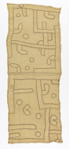 Africa | Kuba people, DR of Congo | Section from an appliqué raffia textile