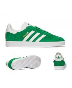 huge discount 6d862 4a224 Womens Adidas Originals Gazelle Green and White Trainer Bright bright  colors, men and women are