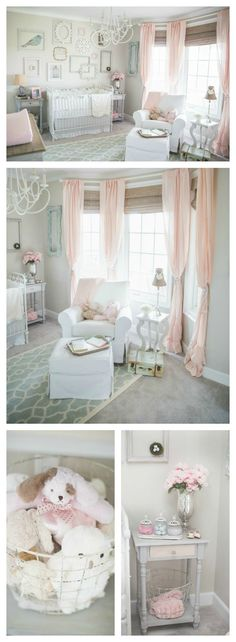 White, grey, and soft pink baby girl nursery. Chandalier, bohemian, shaby chic, farmhouse, classic style.