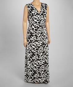 98fa5971acc Black   Cream Filigree Surplice Maxi Dress - Plus