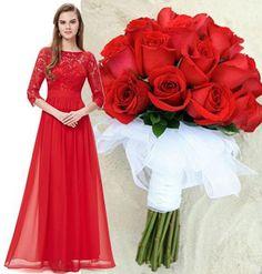 CELIA Red Lace Chiffon Bridesmaid Evening Prom Dress – Belle Boutique UK