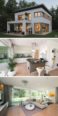 Modern prefabricated house with flat roof & wood plaster facade, large windows, terrace & balcony, 5 room g . Flat Roof House Designs, Modern Exterior House Designs, Modern House Facades, House Front Design, Small House Design, Modern House Plans, Modern House Design, Flat Roof Design, Modern Bungalow Exterior