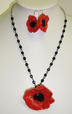 poppy necklace and earrings by PrettyCre8tive on Etsy, $35.00