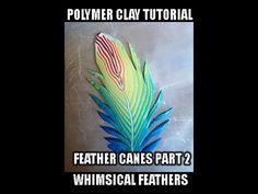 ♫Tuto # 29: la cane plume Fimo - Polymer Clay Tutorial: cane feather - YouTube