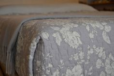 Powder Grey | Floral Quilts | Natural Bed Company