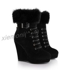 NEW Womens Platform Wedge Winter Warm High Heel Ankle Boots Buckle Shoes Black 6 #Unbranded #AnkleBoots #Party