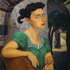 Self Portrait (1947) by German-born Mexican artist Olga Costa (1913-1993). Oil on canvas, 90 x 75 cm. collection: Museo del Palacio de Bellas Artes.