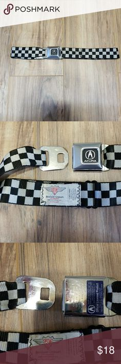 ✴Checkered acura seat belt belt✴ Fantastic condition no signs of wear other than a couple loose strings no fraying. Looks brand new. Emblem is in fantastic condition tiny tiny scratches. Rare find. Its a buckle... its a belt. Feel like youre riding in the car on a casual stroll... its that great. buckle down Accessories Belts